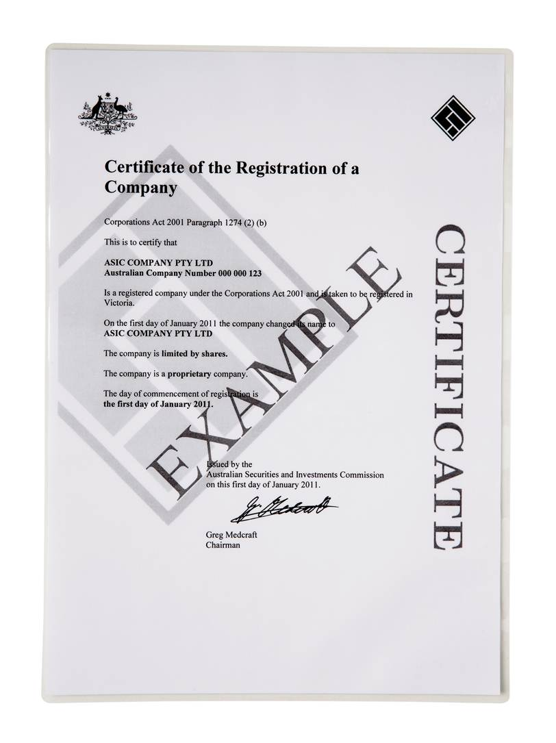 Standard proprietary company registration company for Share certificate template australia